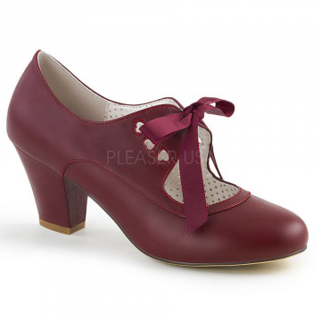 Pin Up Couture WIGGLE-32 Burgundy Faux Leather
