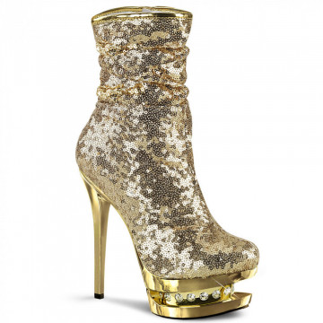 Pleaser BLONDIE-R-1009 Gold Sequins/Gold Chrome
