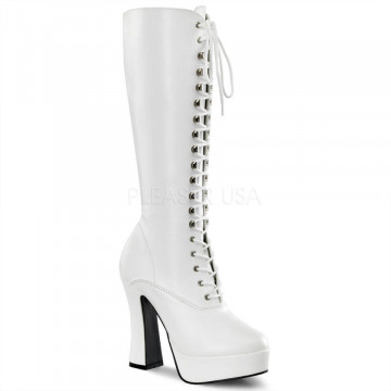 Pleaser ELECTRA-2020 Wht Faux Leather