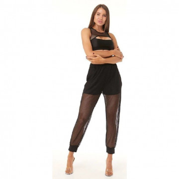 Polerina wear Jogger Pants con tasche - rete nera medio larga - jersey