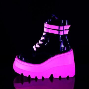 Demonia SHAKER-52 Blk Pat-UV Neon Pink