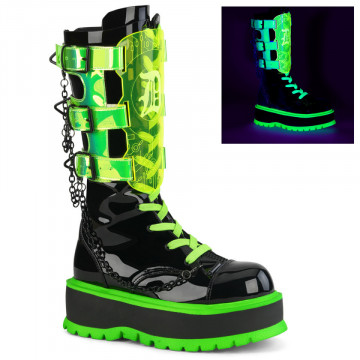 Demonia SLACKER-156 Blk Pat-UV Neon Green Uv reflect