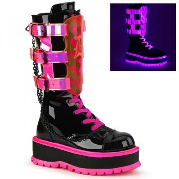 Demonia SLACKER-156 Blk Patent-UV Neon Pink