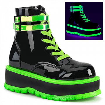Demonia SLACKER-52 Blk Pat-UV Iridescent Green