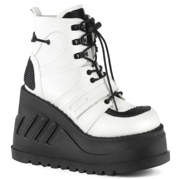 Demonia STOMP-13 Wht Vegan Leather