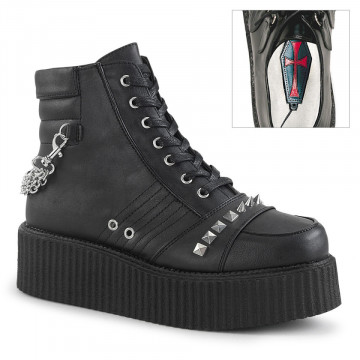 Demonia V-CREEPER-565 Blk Vegan Leather