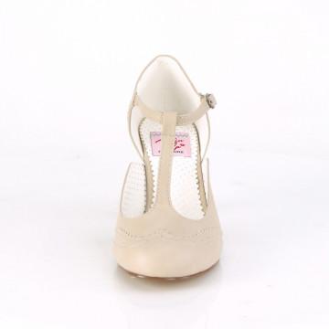 Pin Up Couture FLAPPER-26 Cream Pu