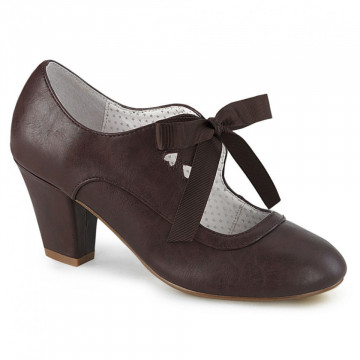 Pin Up Couture WIGGLE-32 Dark Brown Faux Leather