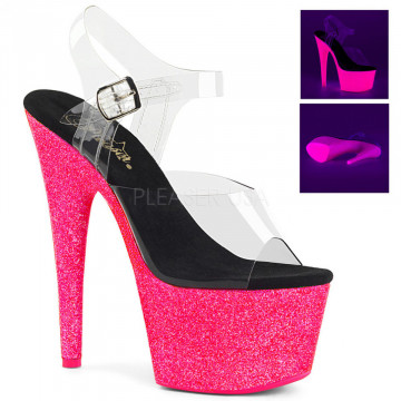 Pleaser ADORE-708UVG Clr/Neon H. Pink Glitter