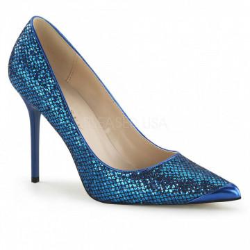 Pleaser CLASSIQUE-20 Navy Blue Glittery Lame Fabri