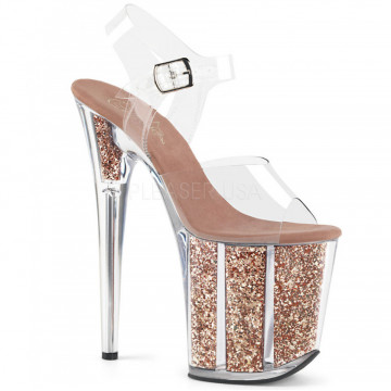 Pleaser FLAMINGO-808G Clr/Rose Gold Glitter