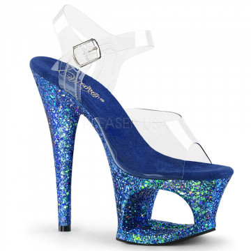 Pleaser MOON-708LG Clr/Blue Multi Glitter