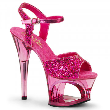 Pleaser MOON-710GT H. Pink Glitter/Pink Tinted