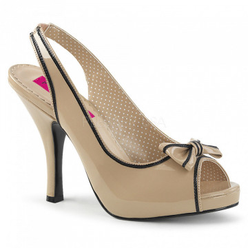 Pleaser Pink Label PINUP-10 Cream-Blk Pat