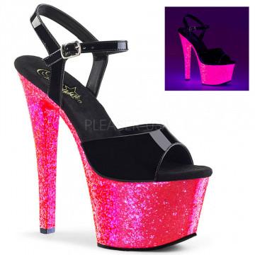 Pleaser SKY-309UVLG Blk Pat/Neon H. Pink Glitter