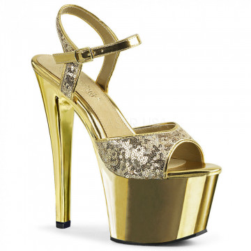 Pleaser SKY-310SQ Gold Sequins/Gold Chrome