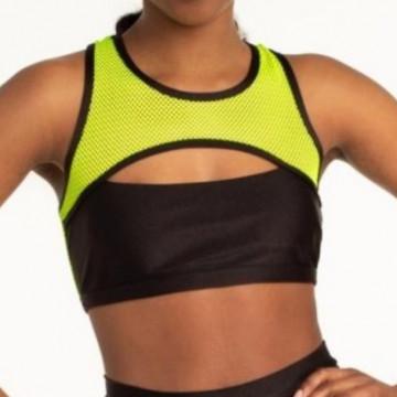 Polerina Anela – Black and Yellow Top rete a maglia larga