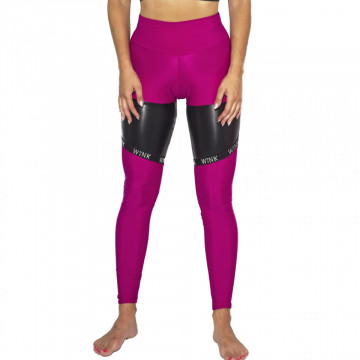WINK POLE LEGGINGS Compression ECONYL® con fascie grip RASPBERRY