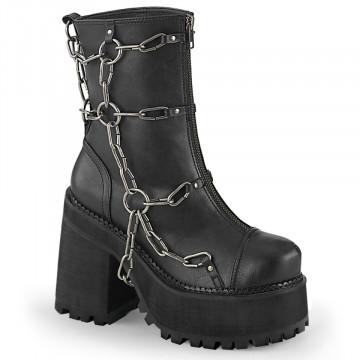 Demonia ASSAULT-66 Blk Vegan Leather