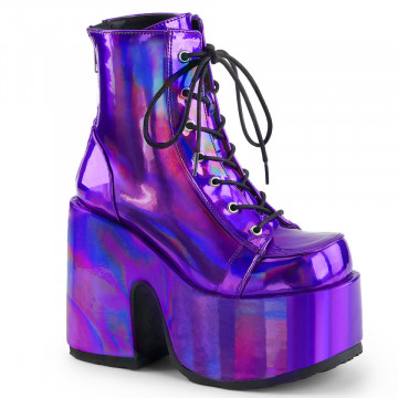 Demonia CAMEL-203 Purple Hologram Vegan Leather
