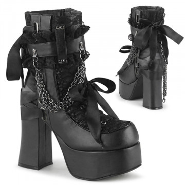 Demonia CHARADE-110 Blk Vegan Leather-Lace Overlay