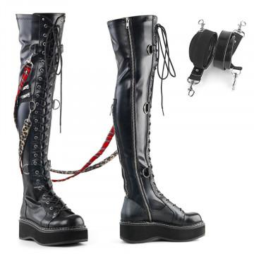 Demonia EMILY-377 Blk Str Vegan Leather