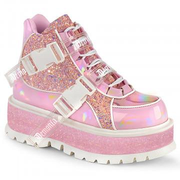 Demonia SLACKER-50 B. Pink Holographic Pat-Pink Multi Glitter