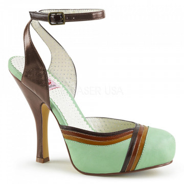 Pin Up Couture CUTIEPIE-01 Mint Multi Faux Leather