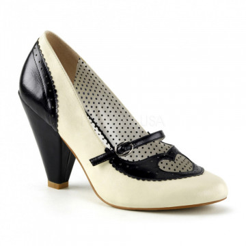 Pin Up Couture POPPY-18 Black-Cream Faux Leather