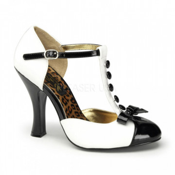 Pin Up Couture SMITTEN-10 Wht-Blk Pat