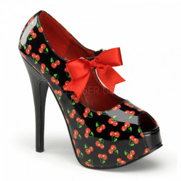 Pin Up Couture TEEZE-25-3 Blk Pat (Cherries Print)