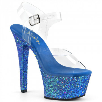 Pleaser ASPIRE-608LG Clr/Blue Multi Glitter