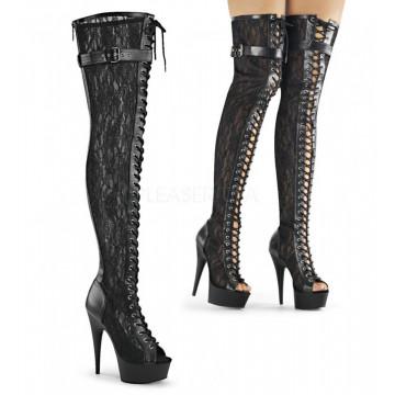 Pleaser DELIGHT-3025ML Blk Faux Leather-Mesh-Lace/