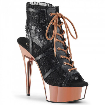 Pleaser DELIGHT-696LC Blk Faux Leather-Lace/Rose Gold Chrome