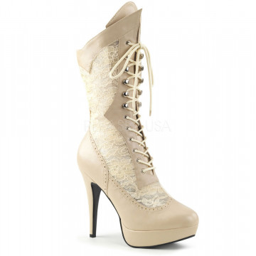 Pleaser Pink Label CHLOE-115 Cream Faux Leather