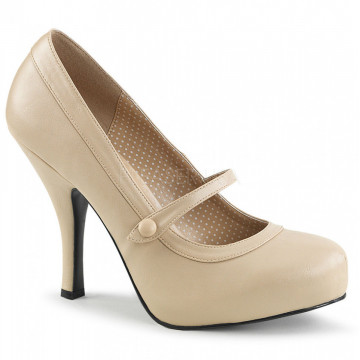 Pleaser Pink Label PINUP-01 Cream Faux Leather