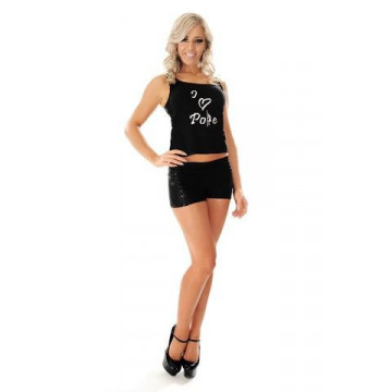 Wink Short Pole Lycra logo bianco Sequin Panel Shorts W104