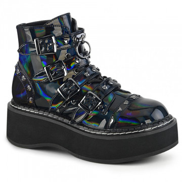 Demonia EMILY-315 Blk Hologram Vegan Leather