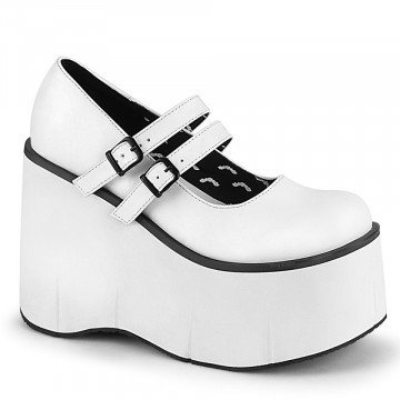 Demonia KERA-08 Wht Vegan Leather