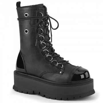 Demonia SLACKER-150 Blk Vegan Leather-Pat