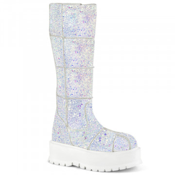 Demonia SLACKER-230 Wht Multi Glitter