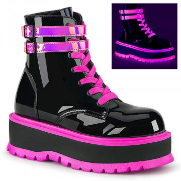 Demonia SLACKER-52 Blk Pat-UV Iridescent Pink