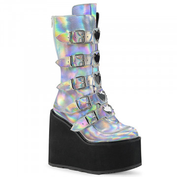 Demonia SWING-230 Silver Hologram Vegan Leather