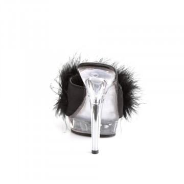 Fabulicious LIP-101-8 Blk Satin-Fur/Clr