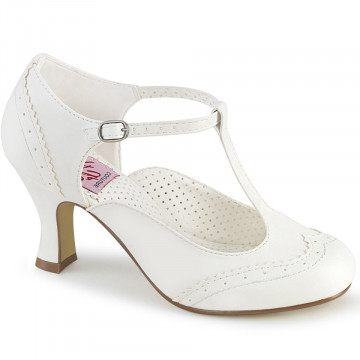 Pin Up Couture FLAPPER-26 Wht Pu