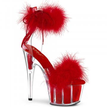 Pleaser ADORE-724F Clr-Red Fur/Red Fur