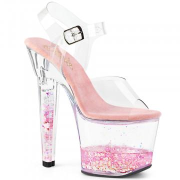 Pleaser LOVESICK-708GH Clr/Clr-Pink Glitters