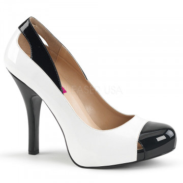 Pleaser Pink Label EVE-07 Wht-Blk Pat