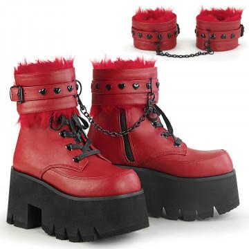 Demonia ASHES-57 Red Vegan Leather