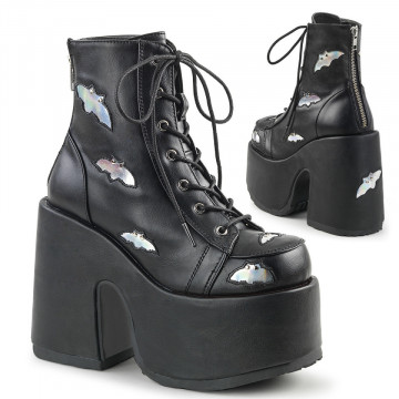 Demonia CAMEL-201 Blk-Slv Hologram Vegan Leather
